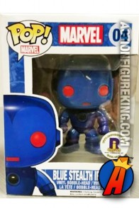 Funko Pop! Marvel variant RI Comicon Blue Stealth Iron Man figure.