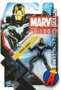 A apcakage sample of this Marvel Universe 3.75 inch Black and White Iron Man action figure from Hasbro.
