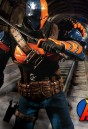 DC Comics fully articulated DEATHSTROKE Action Figure with highly detailed cloth uniform from MEZCO..