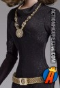 A detailed shot of this Tonner 16-inch Julie Newmar Catwoman action figure.