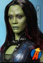 A detailed view of the head sculpt of this Gamora action figure based on actress Zoe Saldana.